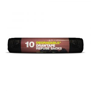 D2W Degradable Black Refuse Sacks Heavy Duty (Roll of 10 Bags)