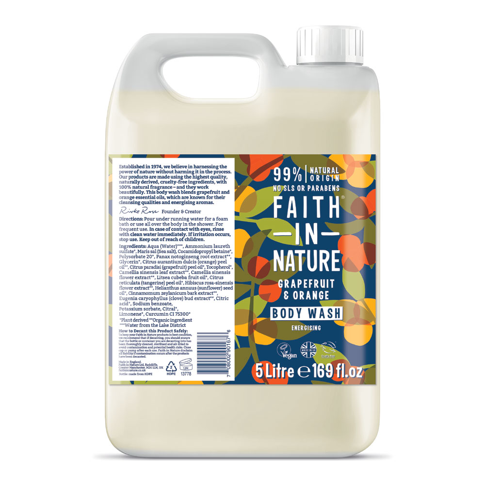 Faith in Nature Grapefruit & Orange Body Wash 5 Litre