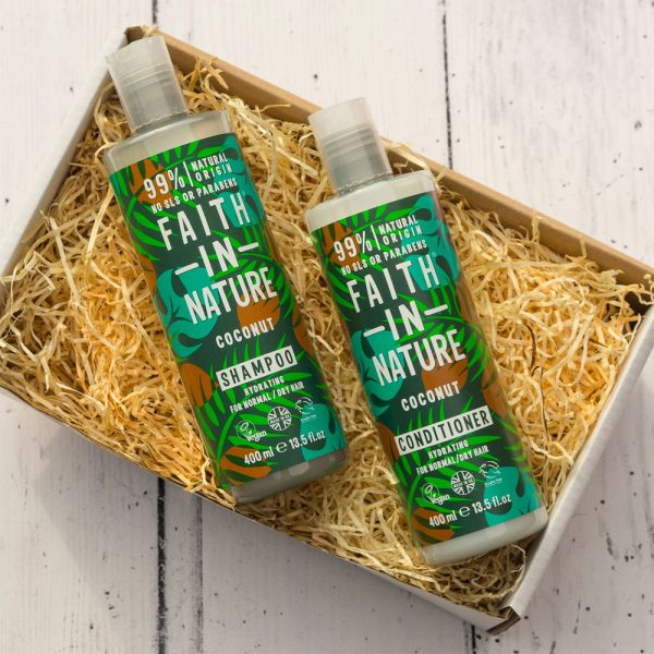 XMA0003CN Faith in Nature Coconut Shampoo & Conditioner Gift Set