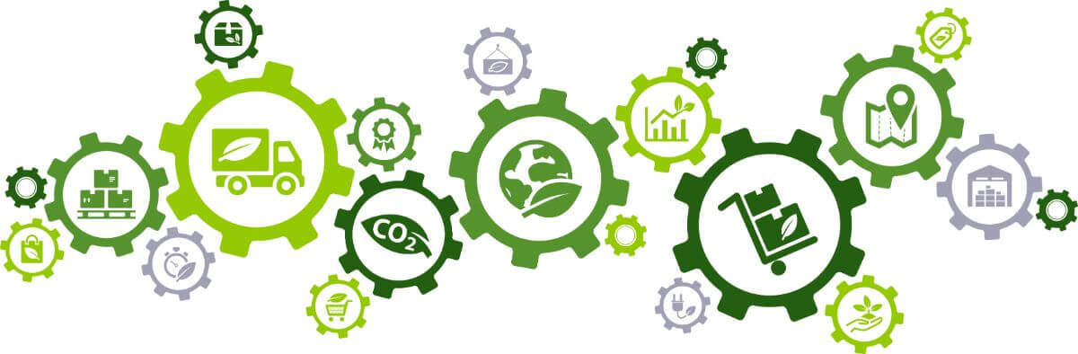 connected icons related to sustainable transport and eco-friendly distribution