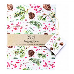 Recycled Christmas Gift Wrap with Tags - Cones & Berries